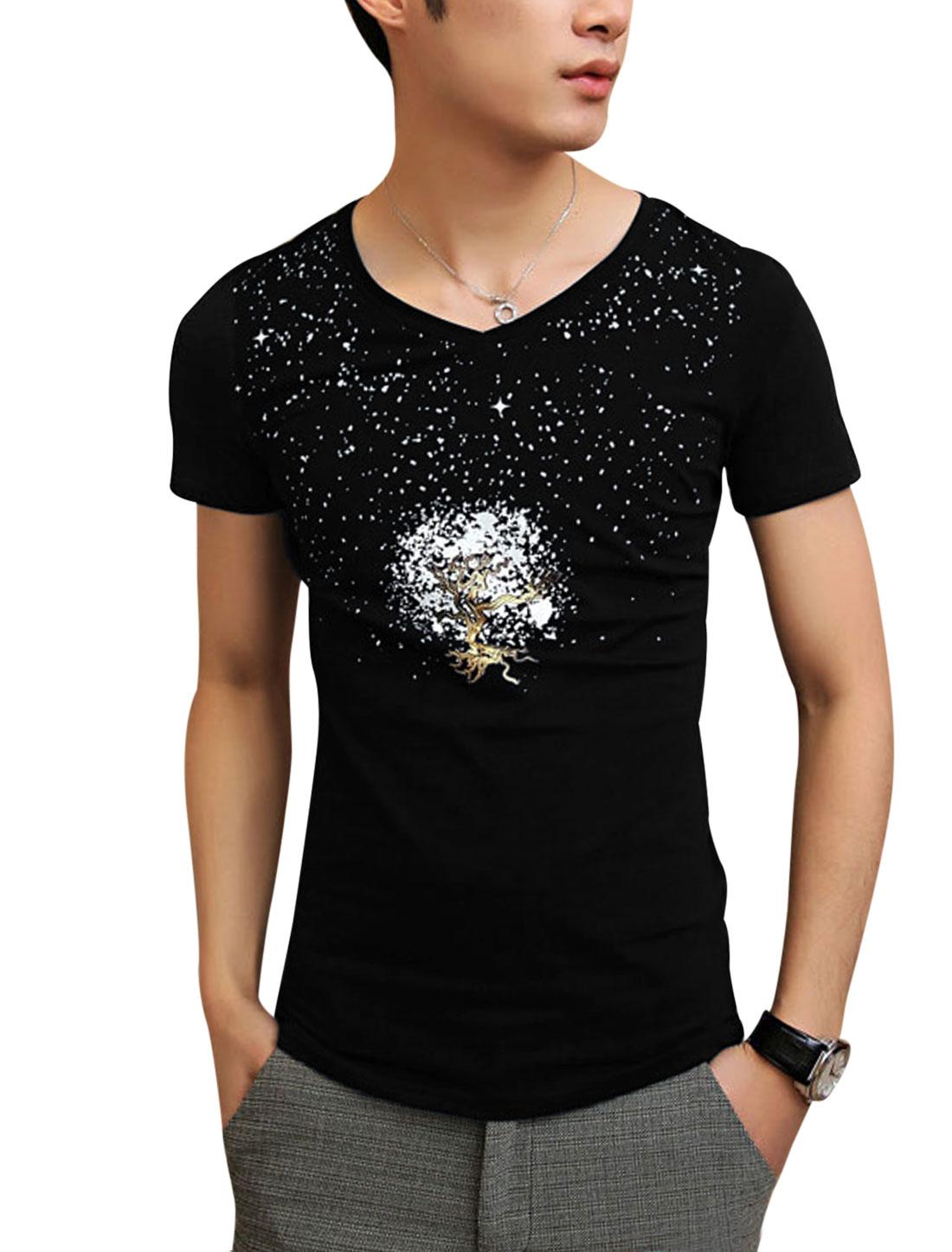 Men Stretchy V Neck Tree Dots Printed Summer Tee Shirt Black S