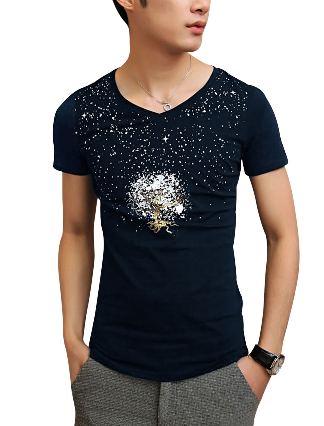 Men Stretch V Neck Short Sleeve Dots Printed Summer Tee Shirt Navy Blue S
