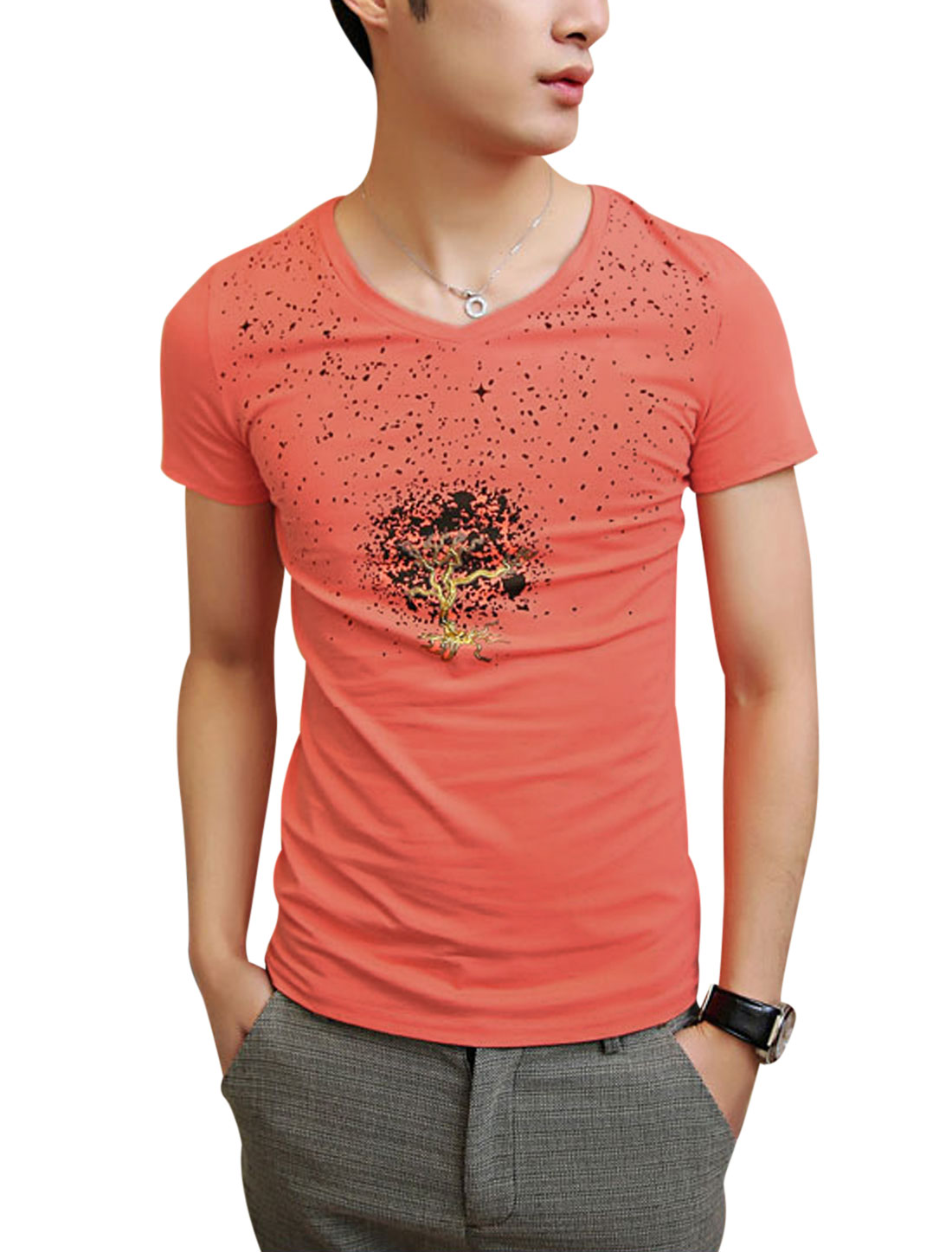 Men Fashion V Neck Glitter Detail Tree Printed Tee Watermelon Red S