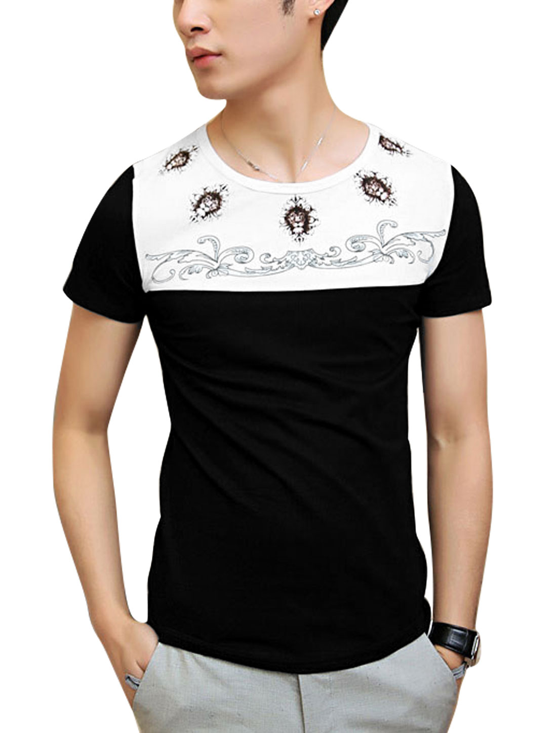 Men Lion Head Pattern Panel Two Tone Summer Tee Top Black S