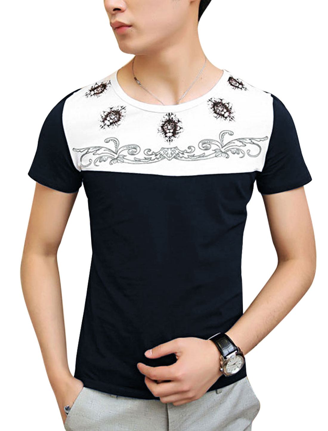 Men Lion Head Pattern Panel Round Neck Summer Tee Top Navy Blue S