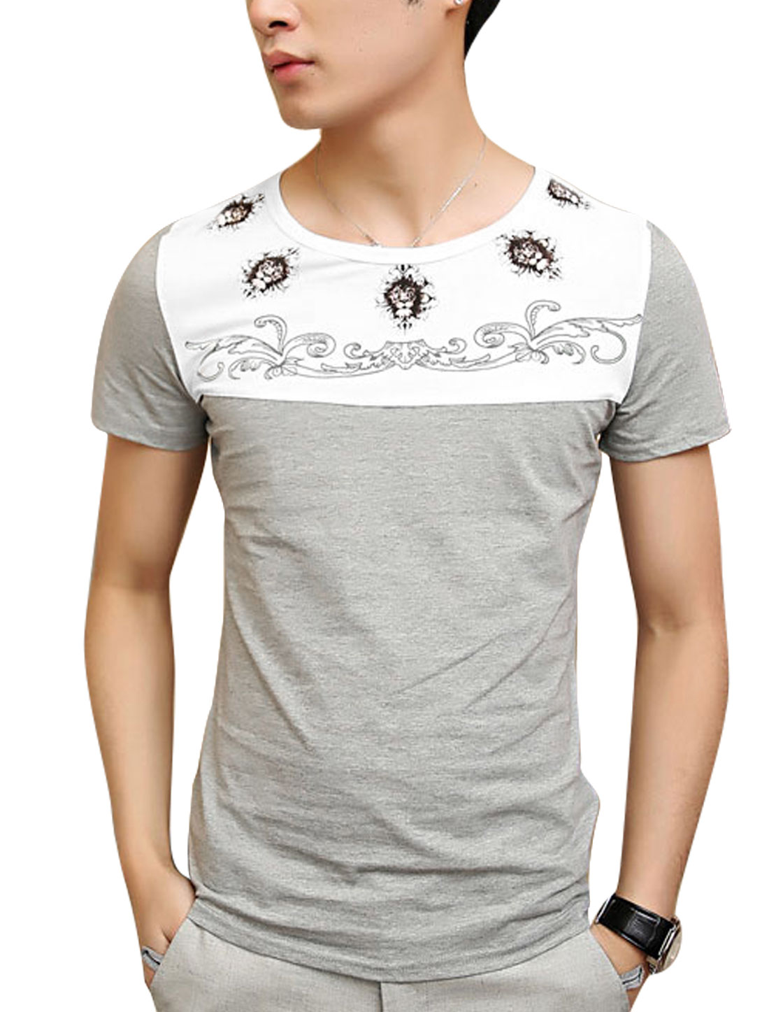 Men Floral Prints Panel Short Sleeve Summer Tee Top Light Gray S