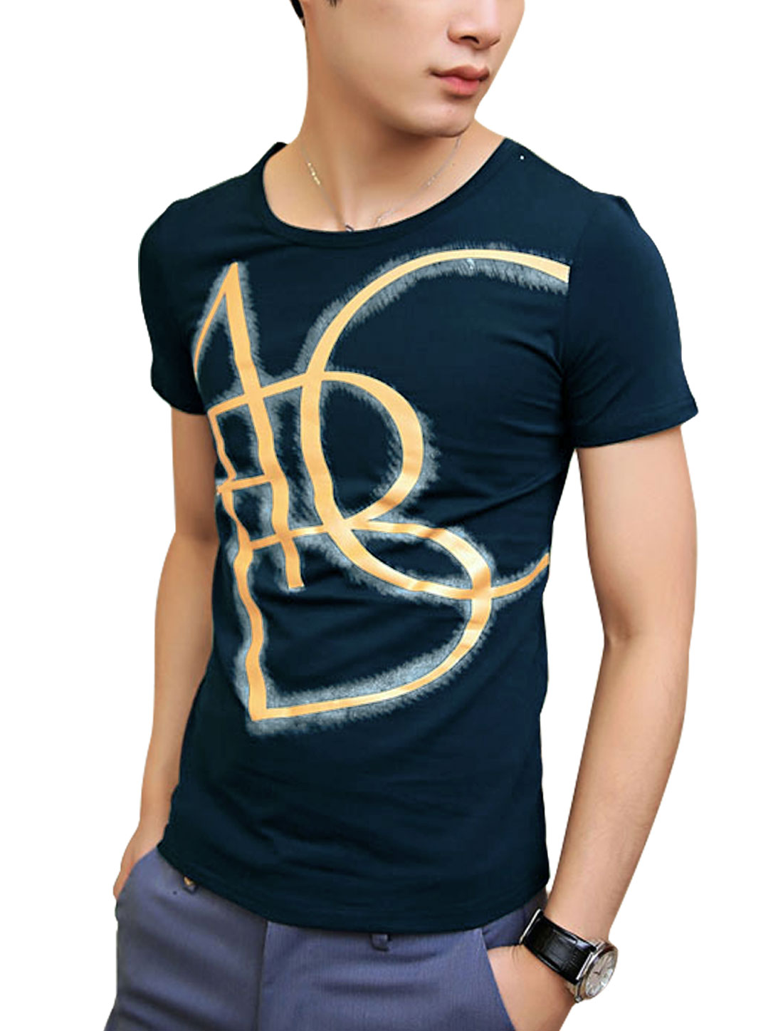 Men Cozy Fit NEW Short Sleeve Letters Printed Tee Navy Blue S