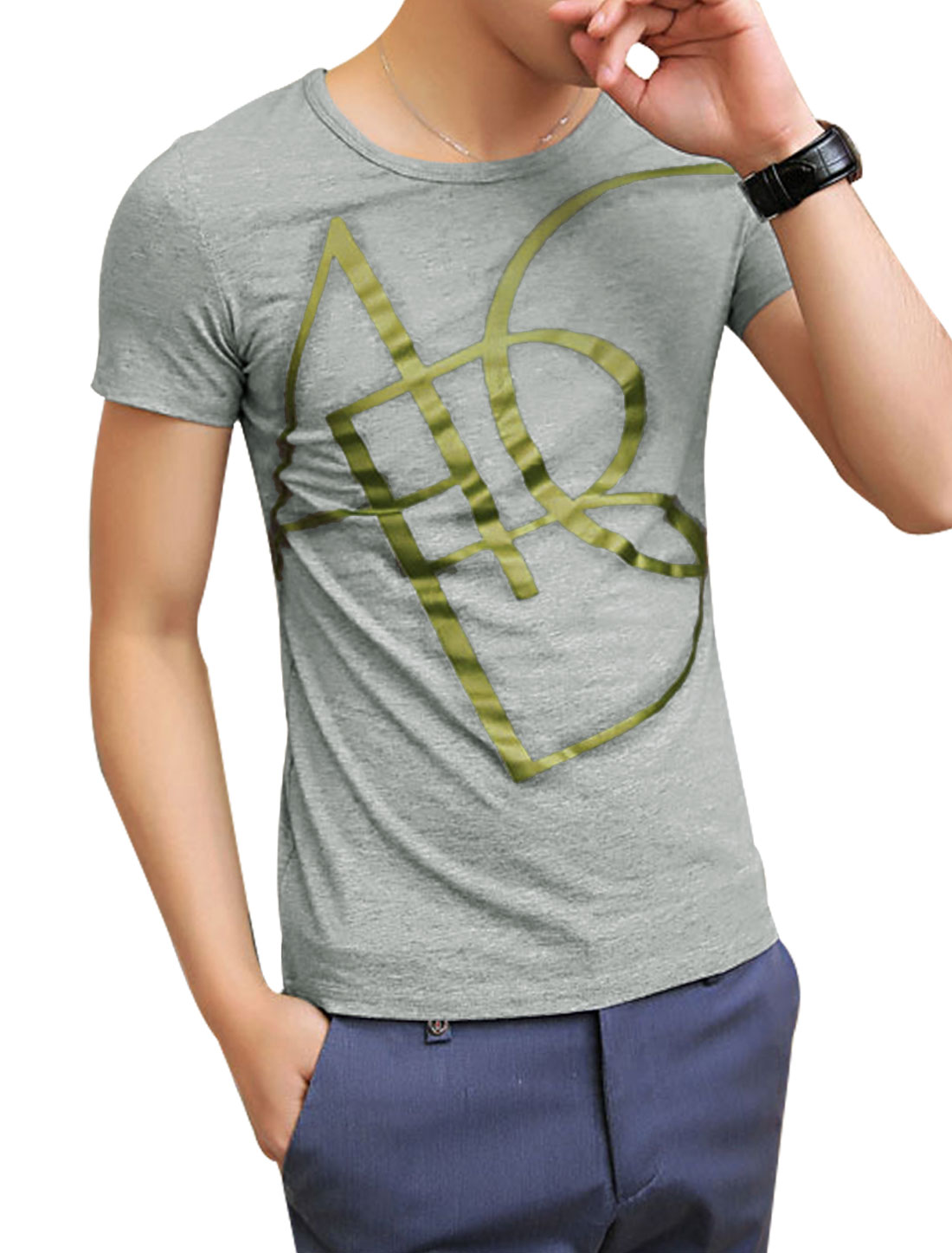 Men Cozy Fit Slipover Round Neck Letters Printed Tee Light Gray S