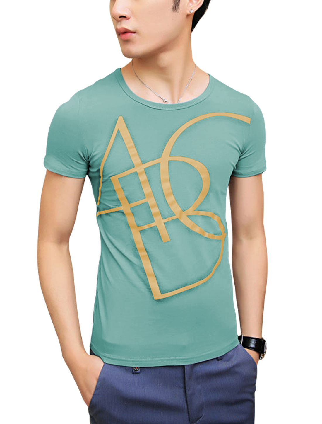 Cozy Fit Slipover Round Neck Letters Printed Tee Top for Men Aqua S
