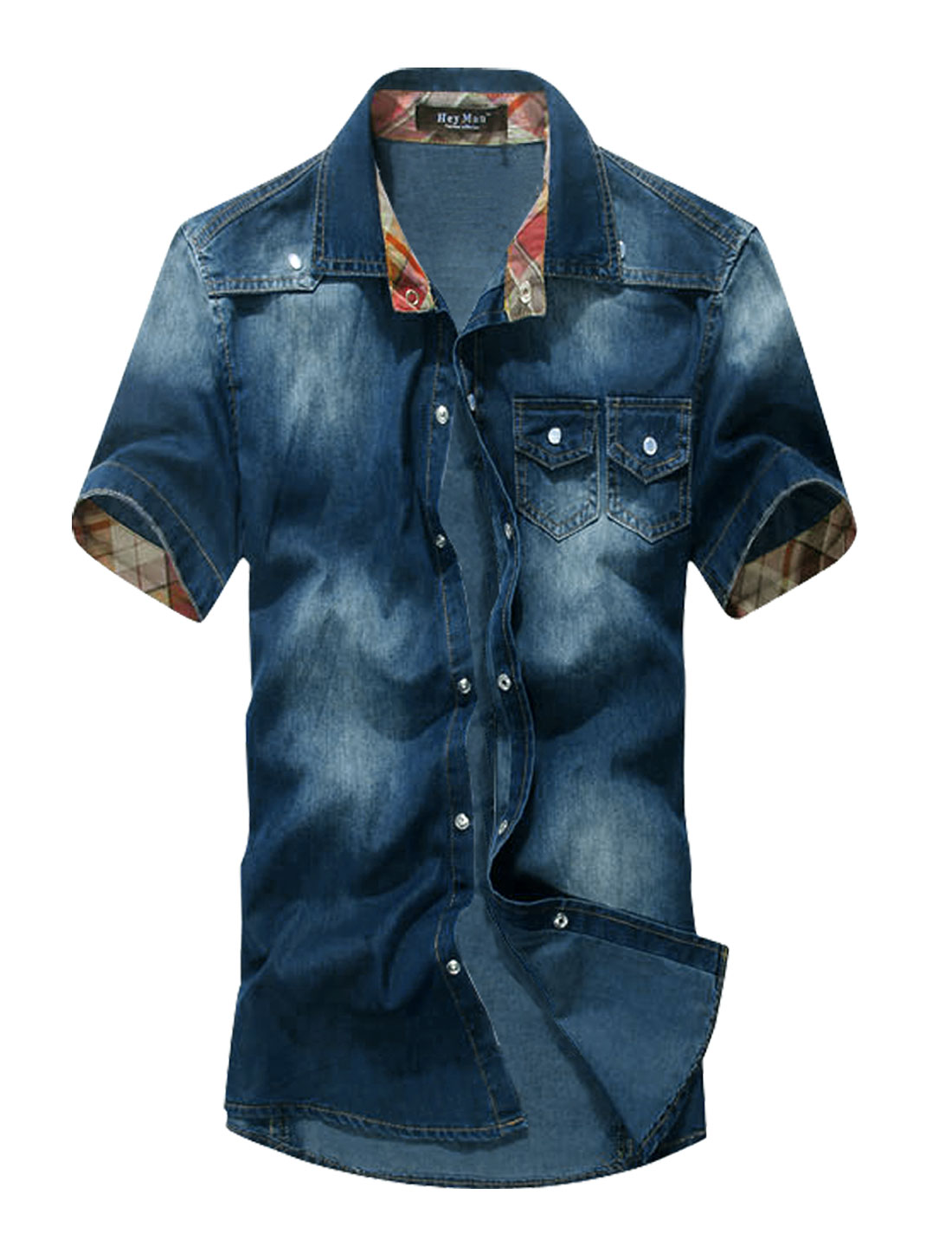Men Snap Buttons Closed Western Style Double Chest Pockets Denim Shirt Dark Blue M