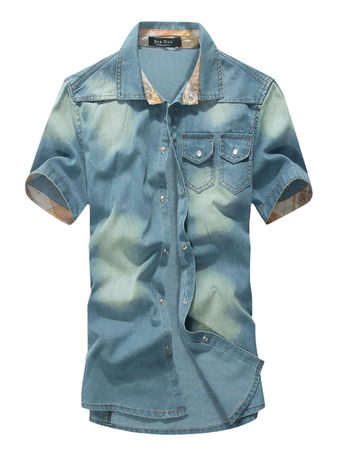 Men Snap Buttons Closed Western Style Plaids Detail Denim Shirt Blue M