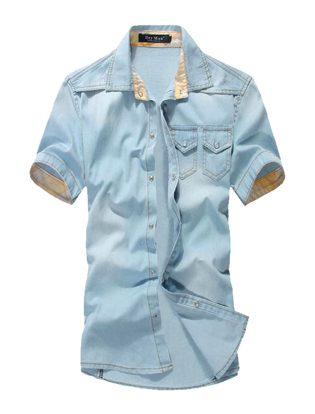 Men Chest Pockets Plaids Detail Cuffed NEW Denim Shirt Light Blue M