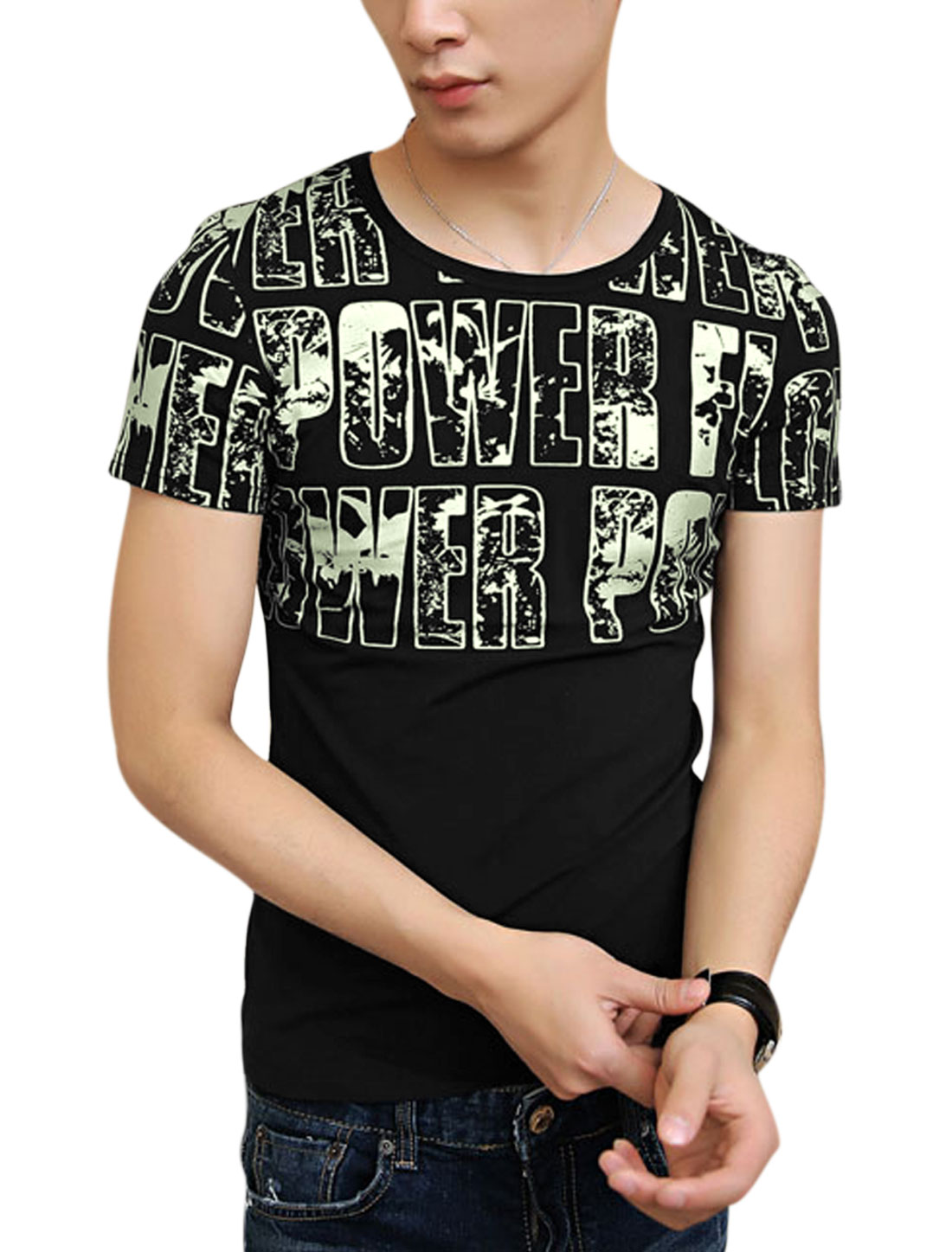 Simple Short Sleeve Letters Prints Casual T-Shirt for Men Black S
