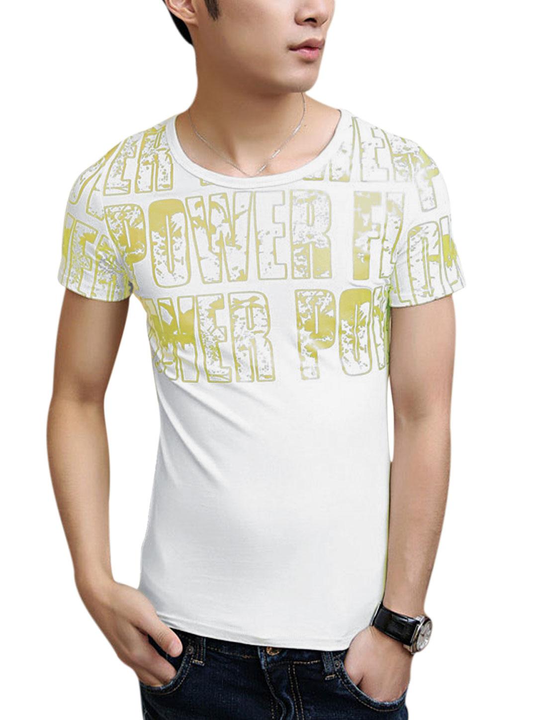 Men Slim Fit Short Sleeve Letters Prints Casual T-Shirt White S