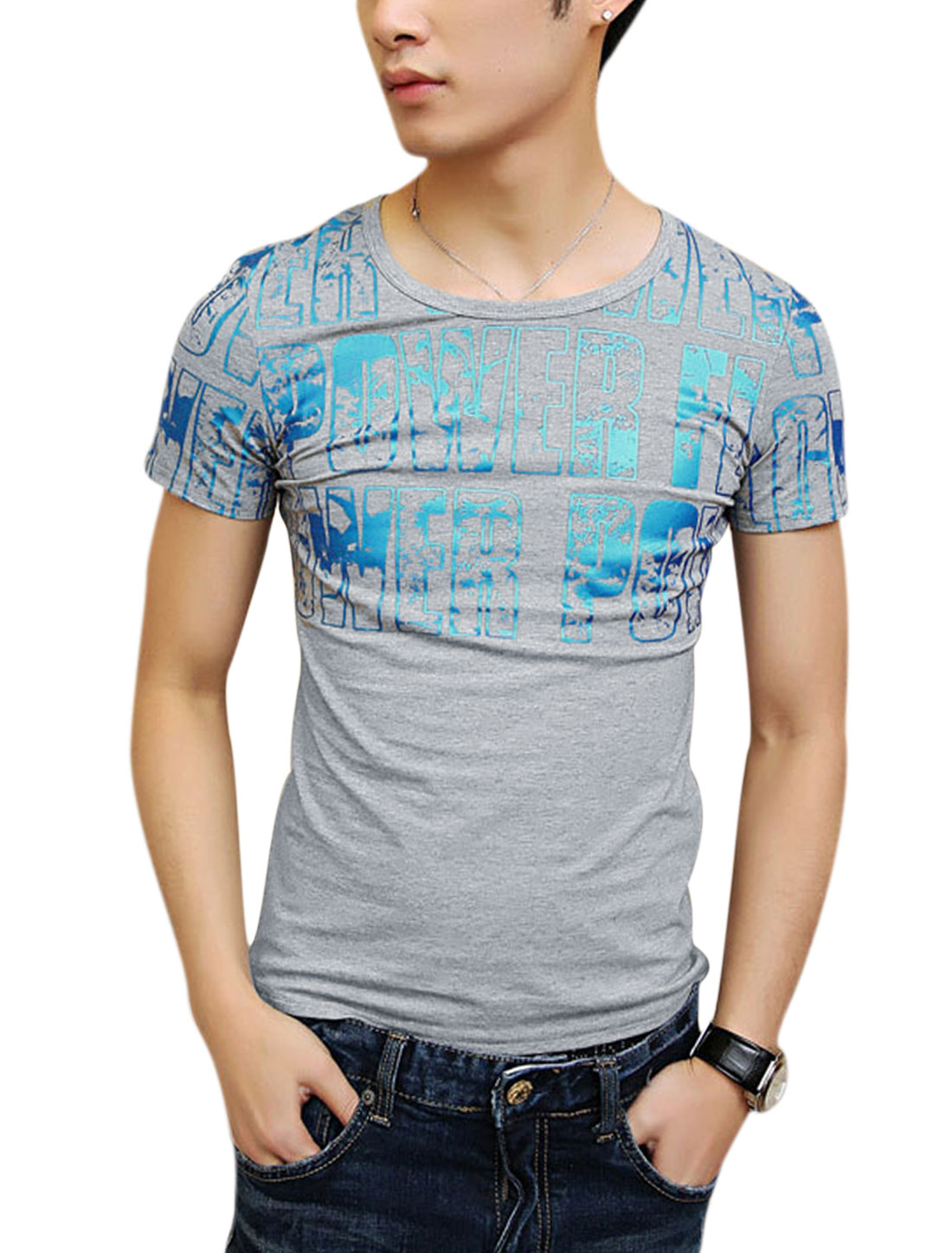 Round Neck Short Sleeve Letters Prints Basic Tee for Men Light Gray S