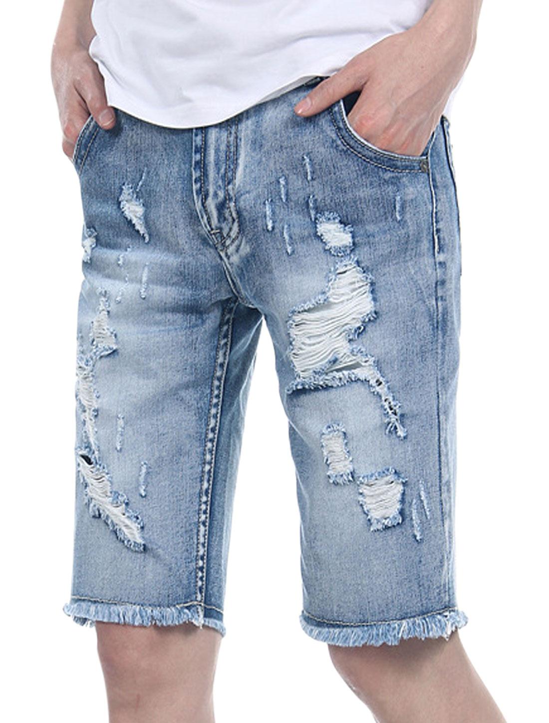 Man Tassel Hem Front Hip Pocket Zip Fly Distressed Washed Denim Shorts Pale Blue W34