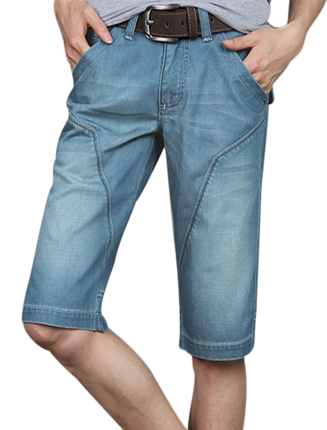 Men Front Hip Pockets Belt Loop Panel Zip Fly Denim Shorts Blue W34