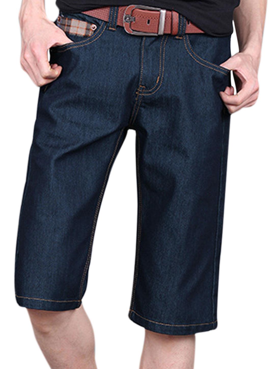 Men Plaids Detail Belt Loop Hip Pockets Mid Rise Denim Shorts Navy Blue W34