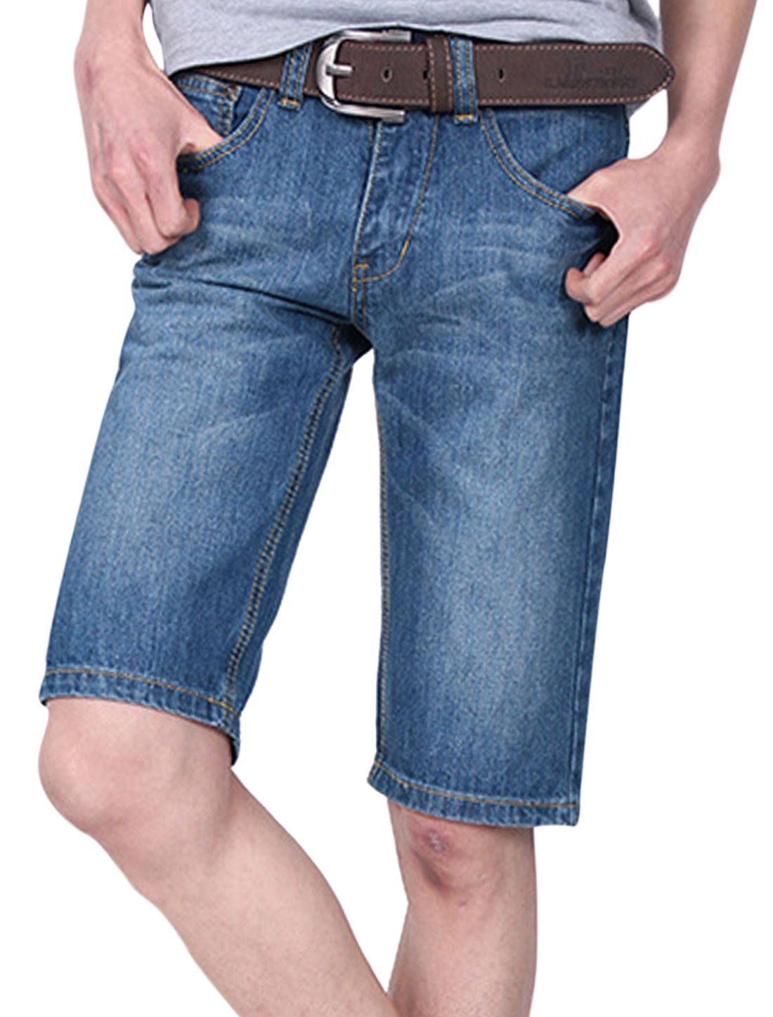 Man Belt Loop Mid Rise Hip Pockets Zip Fly Denim Shorts Dark Blue W34