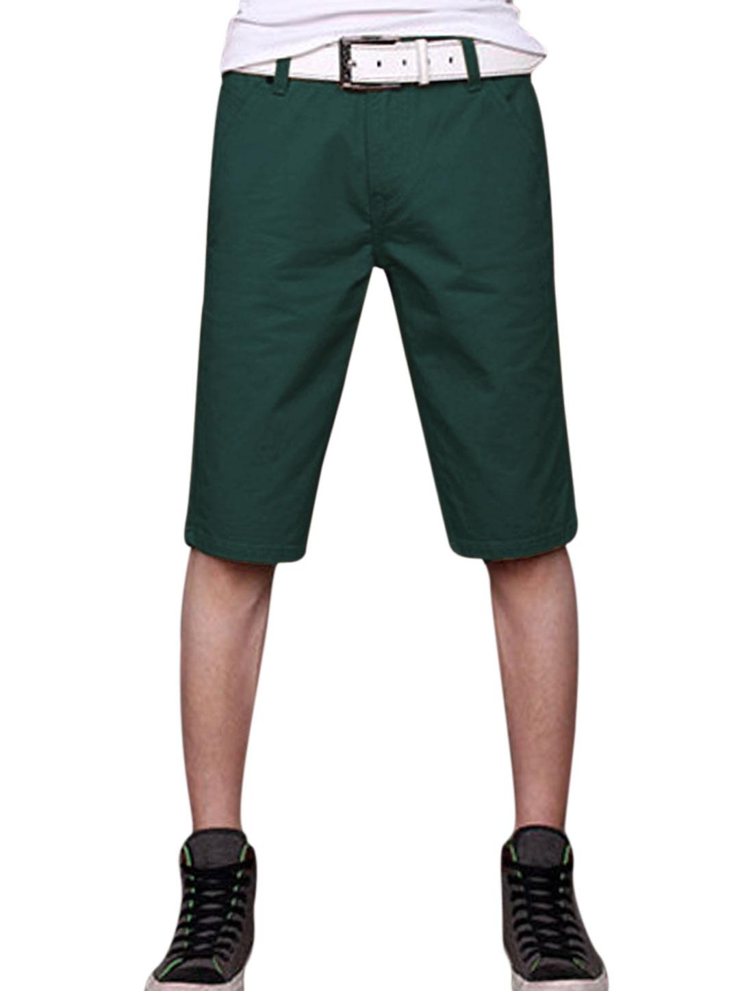 Man's Mid Rise Zip Fly Front Pockets Belt Loop Denim Shorts Dark Turquoise W34