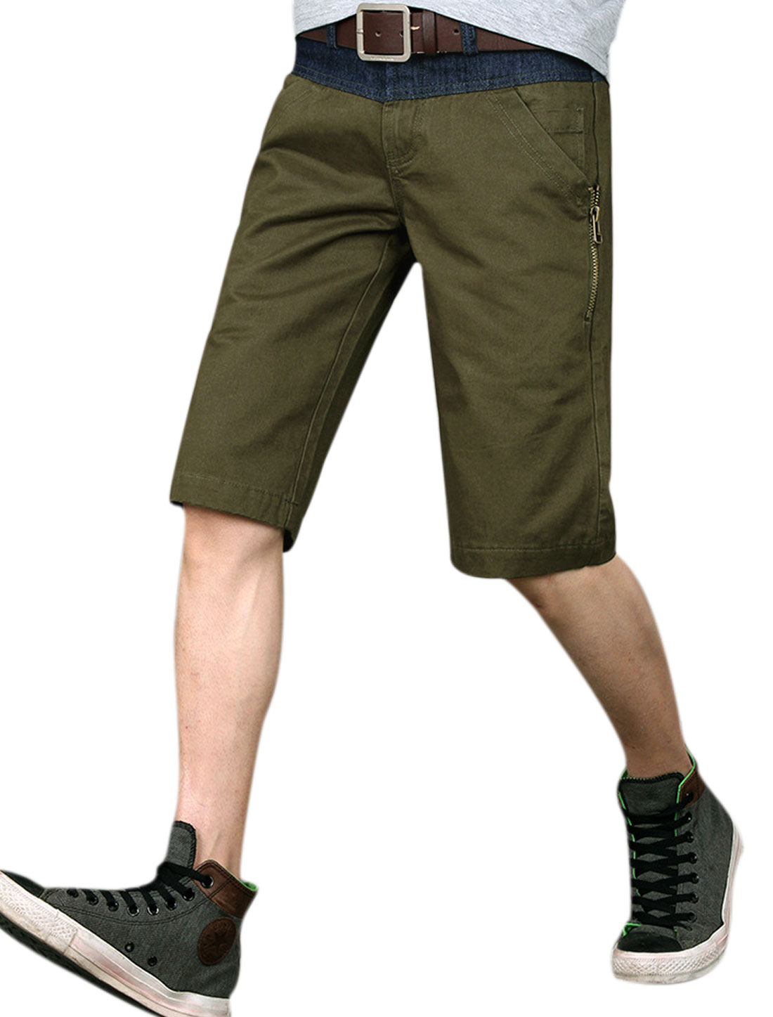 Man's Belt Loop Zipper Detail Slant Front Pockets Chino Shorts Army Green W34