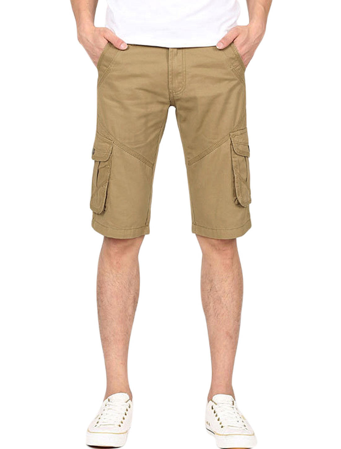 Man Belt Loop Slant Front Pockets Zip Fly Casual Chino Shorts Khaki W34