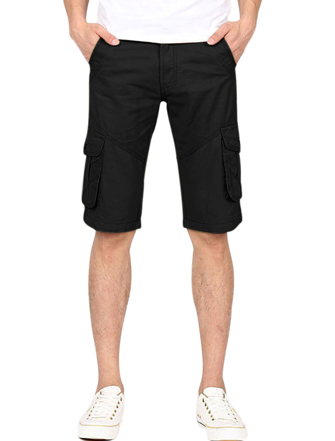 Men's Slant Front Pockets Belt Loop Zip Fly Summer Fit Chino Shorts Black W34