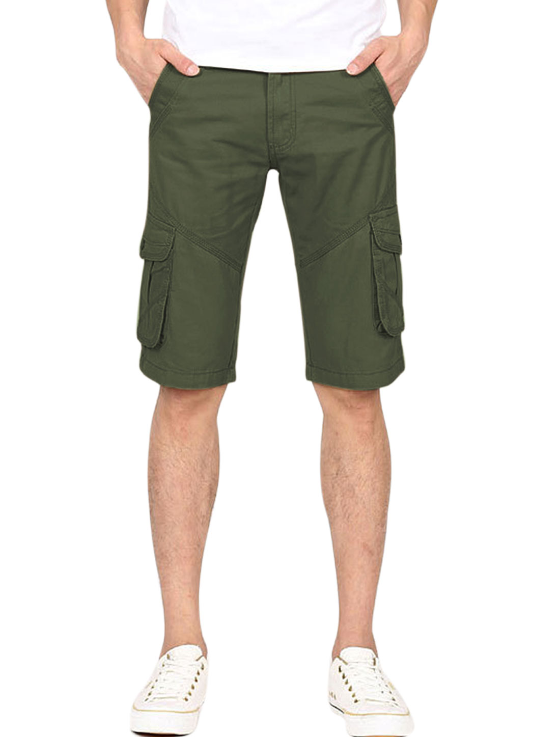 Man Hip Pockets Zip Fly Single Button Closure Chino Shorts Army Green W34