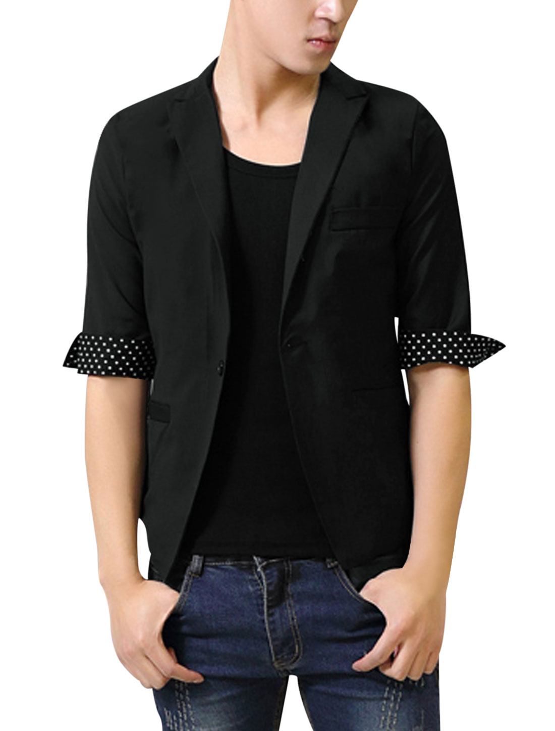 Men Stylish Peaked Lapel Half Sleeve Dots Detail Blazer Black M