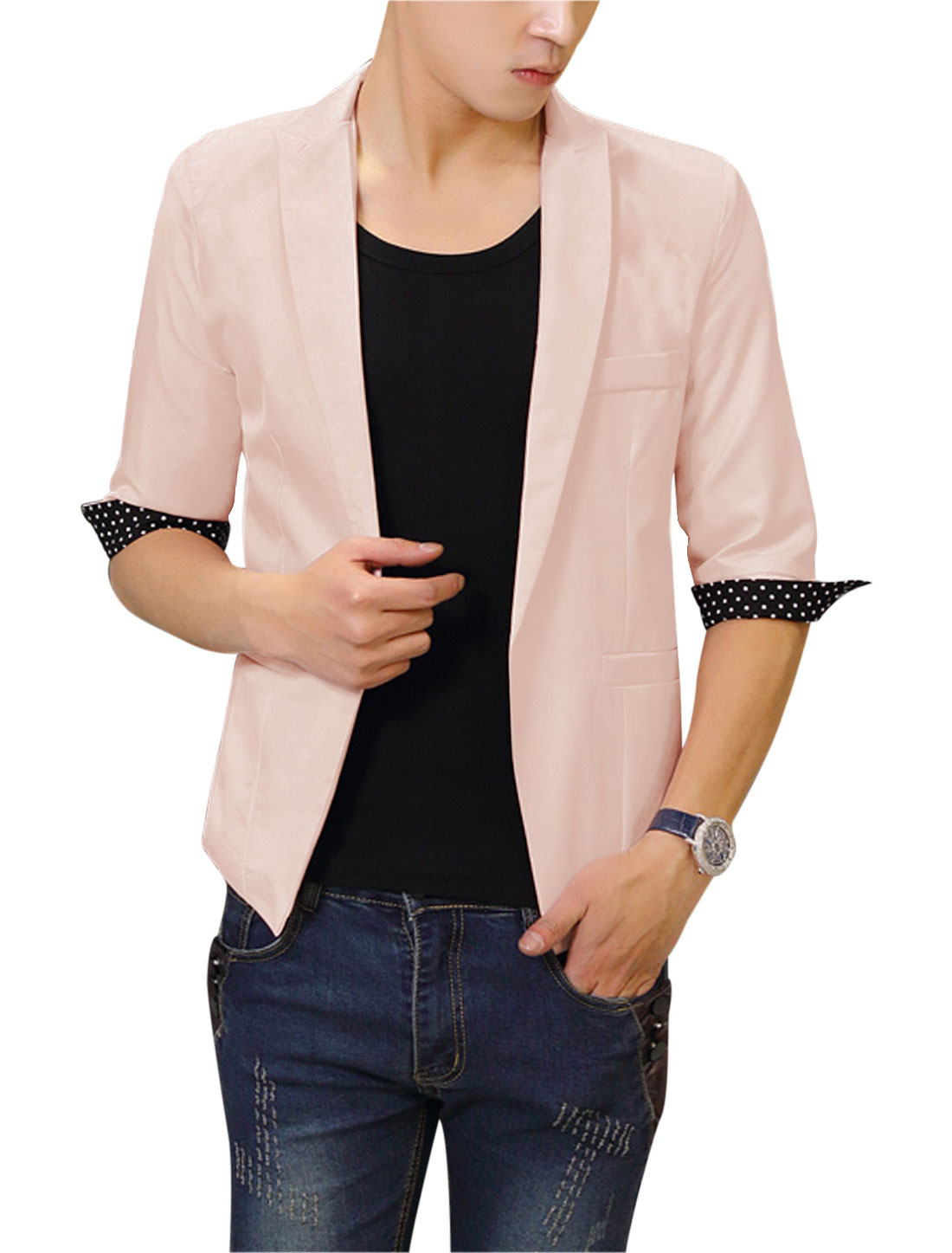 Men Stylish Padded Shoulder Dots Pattern Detail Blazer Light Pink M