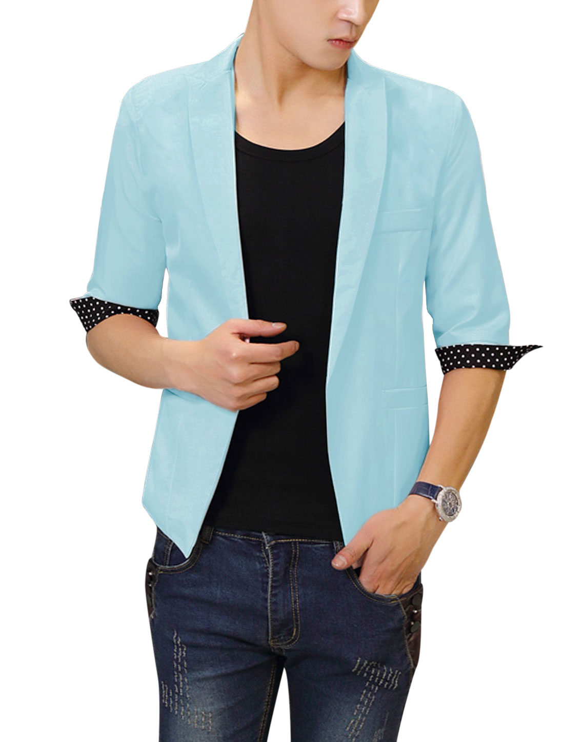 Men Stylish Peaked Lapel Dots Pattern Detail Blazer Light Blue M