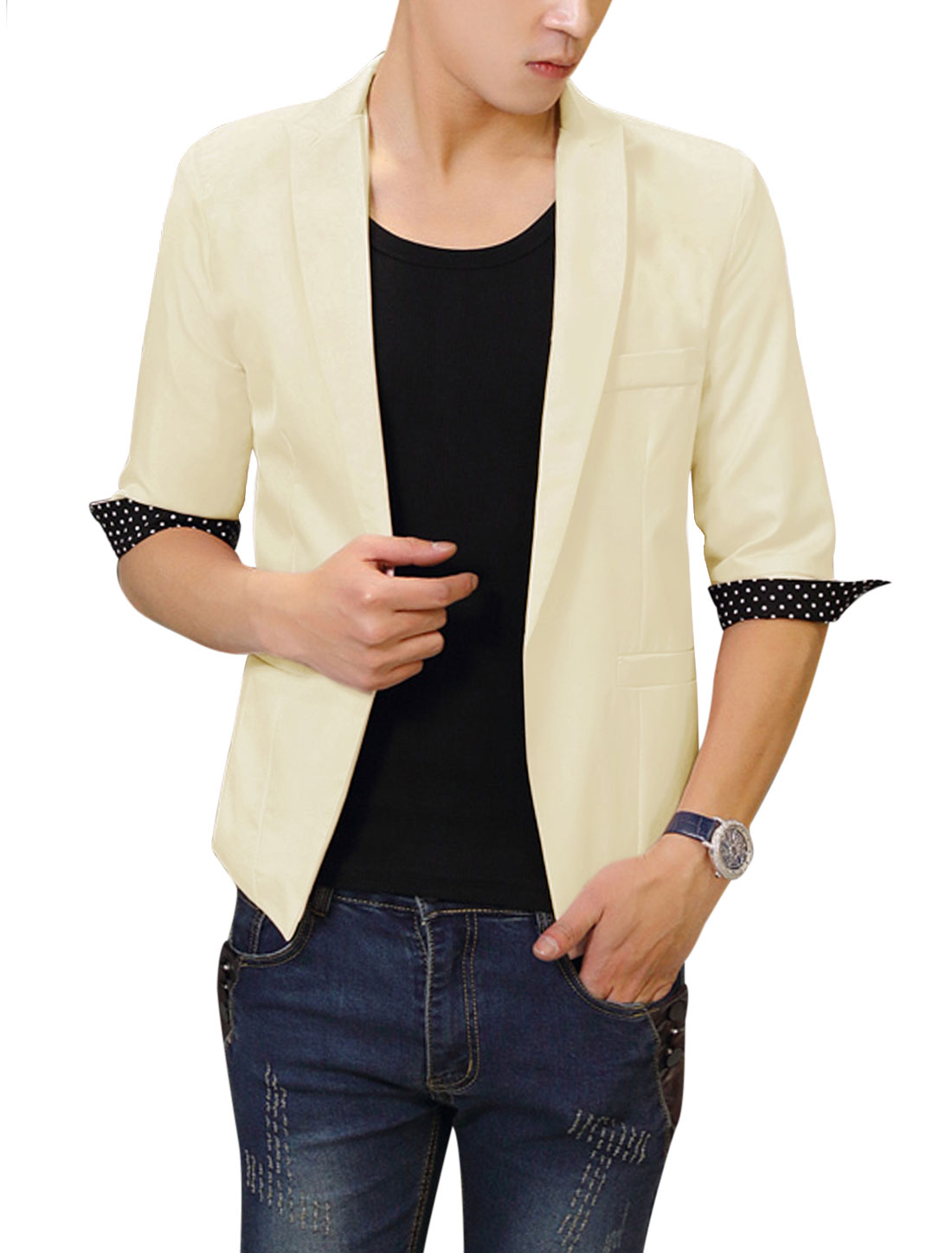 Men Chic Peaked Lapel Half Sleeve Lining Leisure Blazer Beige M