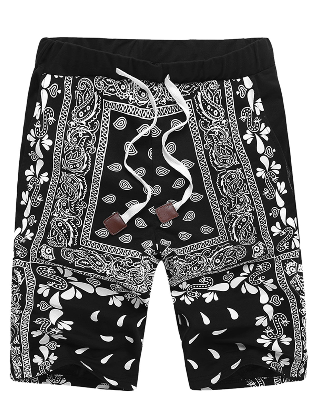 DK96 Men Chic Elastic Drawcord Waist Paisleys Shorts Black 3XL/M(W32)