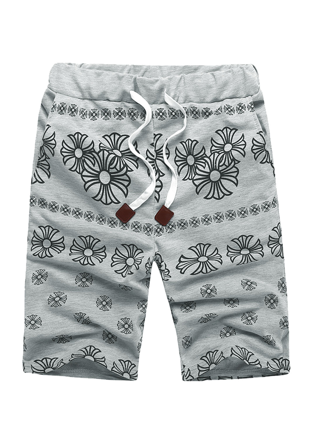 Men Elastic Waist Floral Printing Simple Shorts Light Gray W32