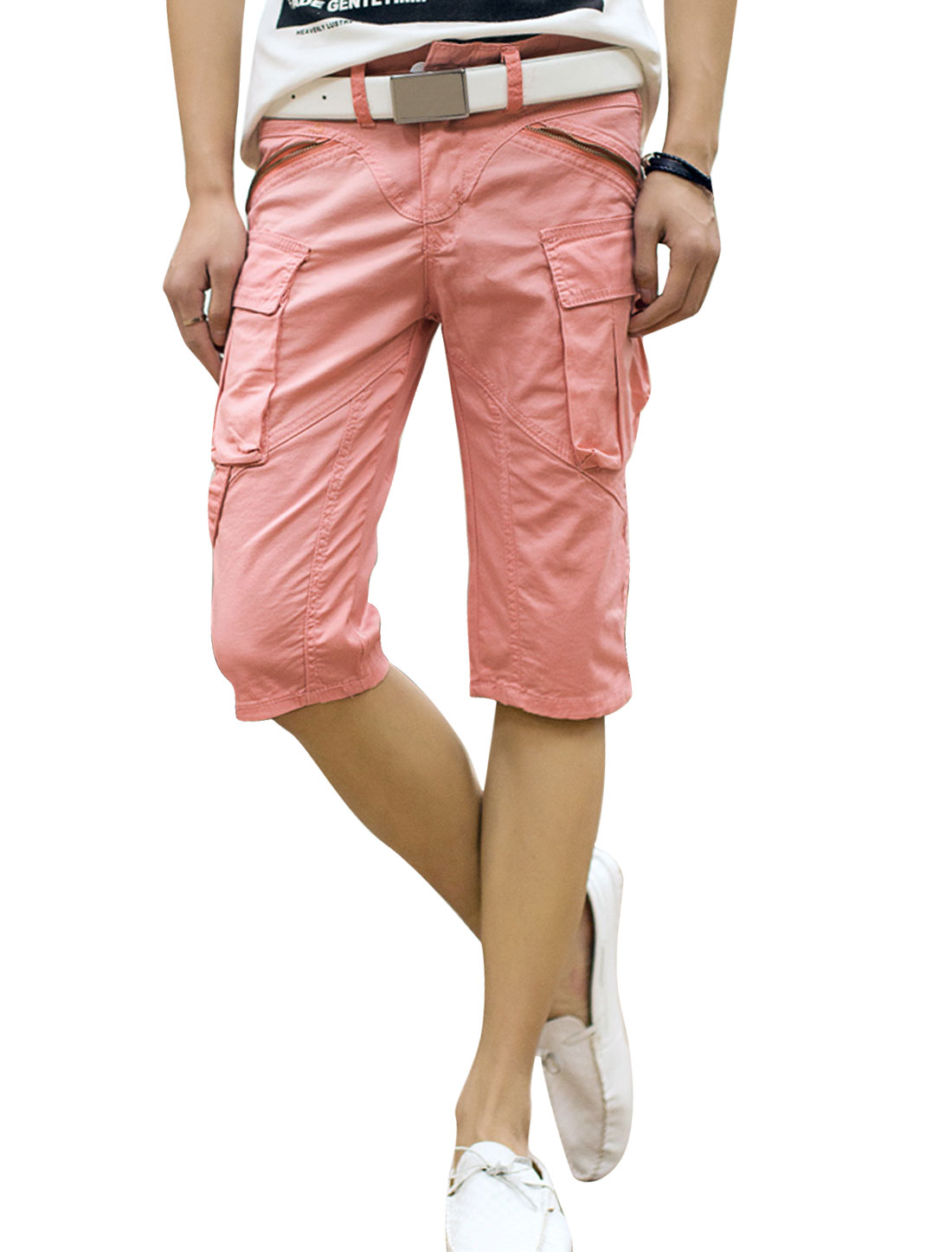 Men Casual Zip Fly Zipper Decor Cargo Shorts Light Salmon W30