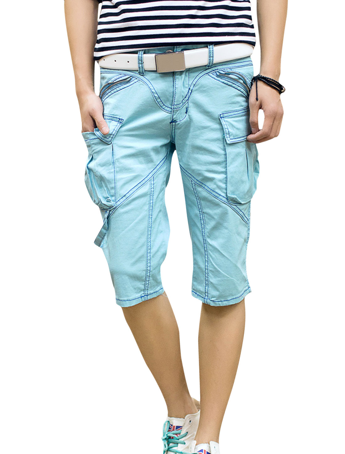 Men Casual Belt Loop Zip Fly Zipper Decor Cargo Shorts Sky Blue W30