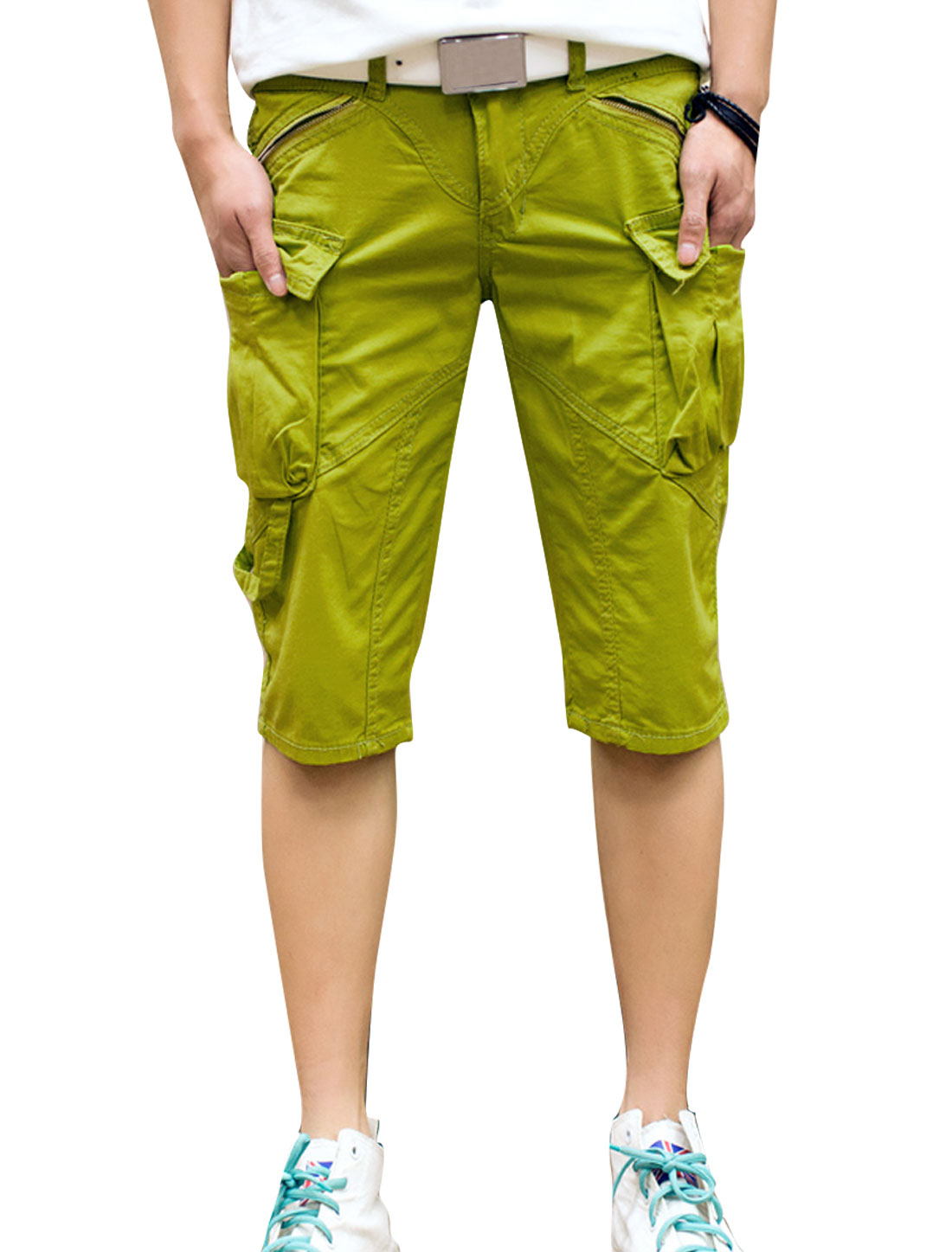Men Summer Zip Fly Zipper Decor Cargo Shorts Dark Lime W30