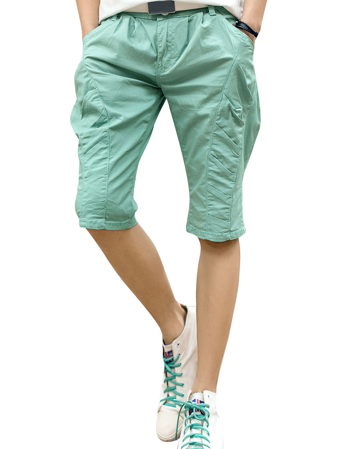Men Casual Zip Up One Button Up Ruched Design Shorts Mint W30