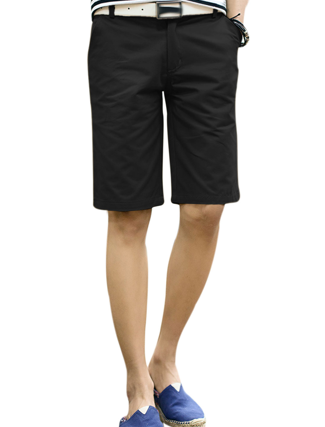 Men Belt Loop Zip Fly Four Pockets Stylish Shorts Black W34