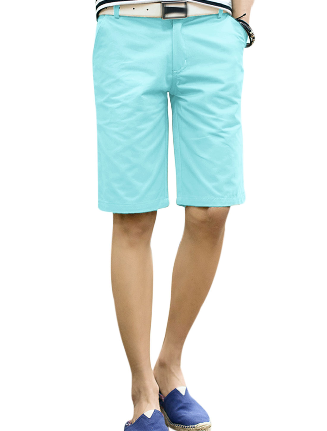 Men Belt Loop Zip Fly Four Pockets Loose Fit Shorts Aqua W34
