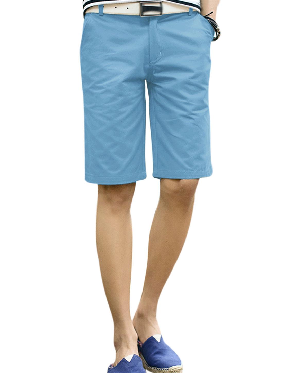 Men Belt Loop Zip Fly Four Pockets Summer Wear Shorts Blue W34