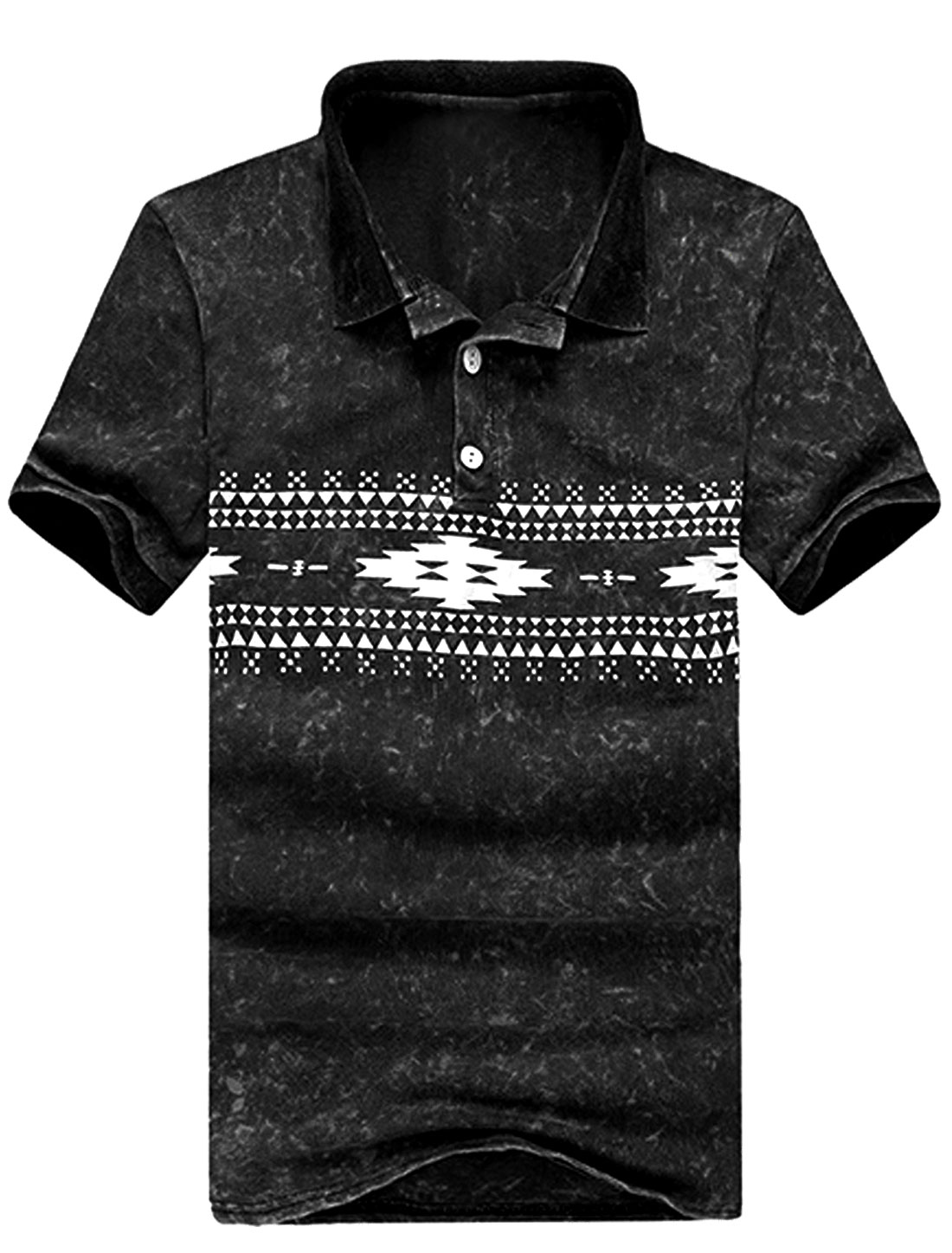 Men Short Sleeve Geometric Prints Washed Polo Shirt Black M