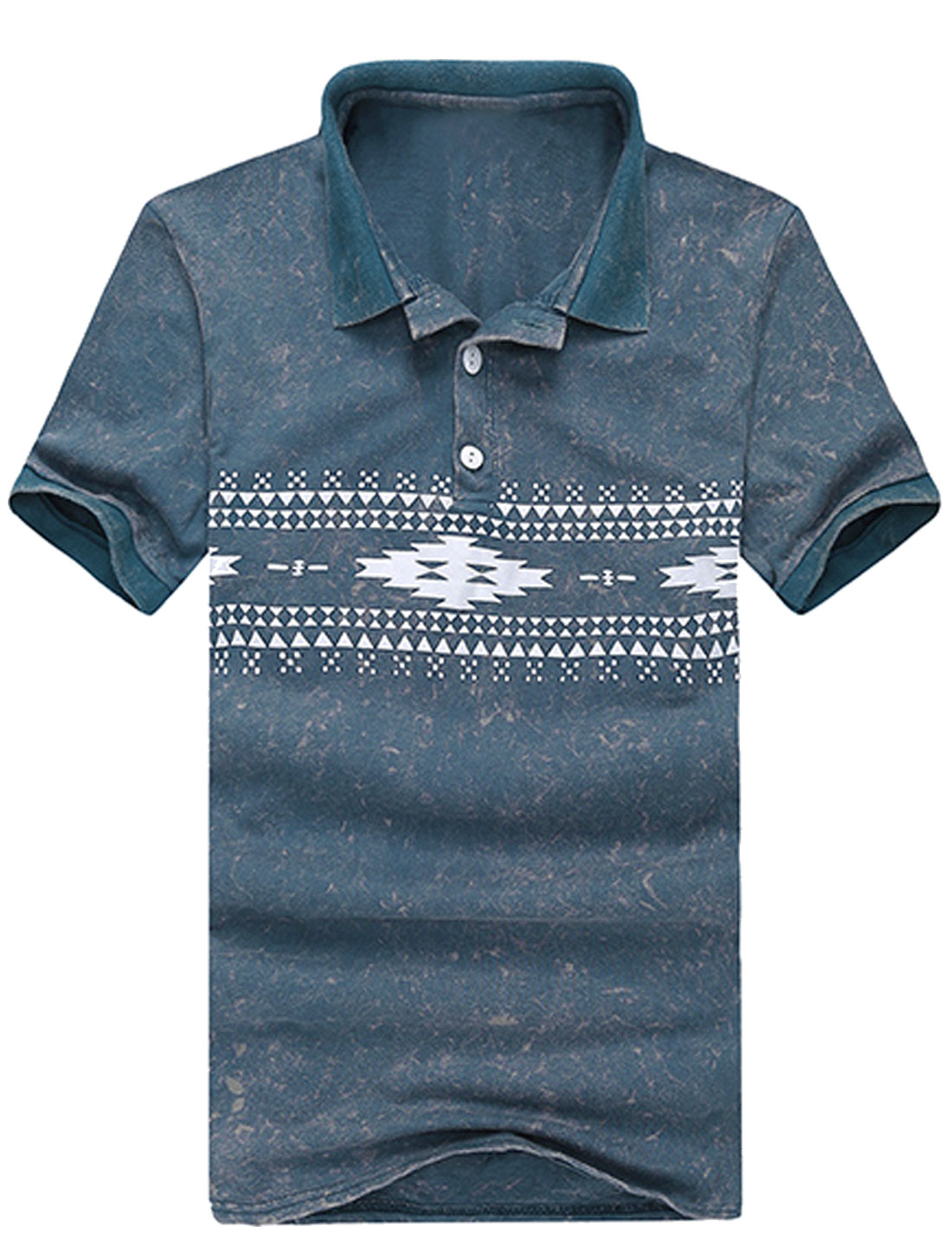 Men Summer Geometric Prints Washed Polo Shirt Dark Blue M
