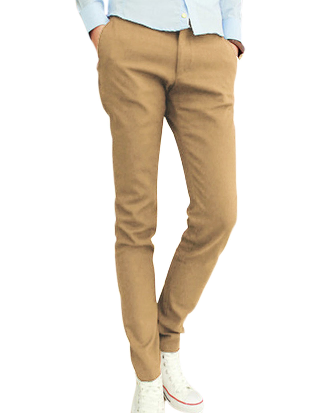 Men NEW Fashion One Button Up Pockets Front Leisure Pants Khaki W30