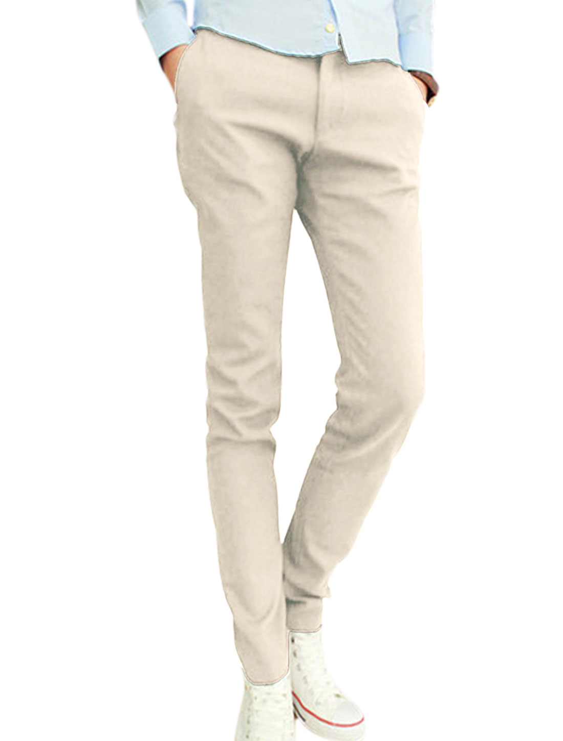 Men NEW Fashion One Button Up Fake Pockets Back Leisure Pants Beige W30