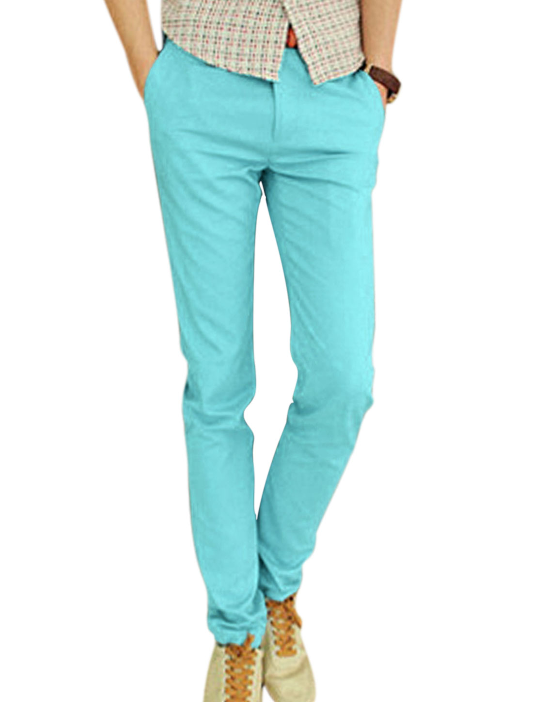 Men NEW Fashion Zipper Fly Fake Welt Pockets Leisure Pants Light Blue W30
