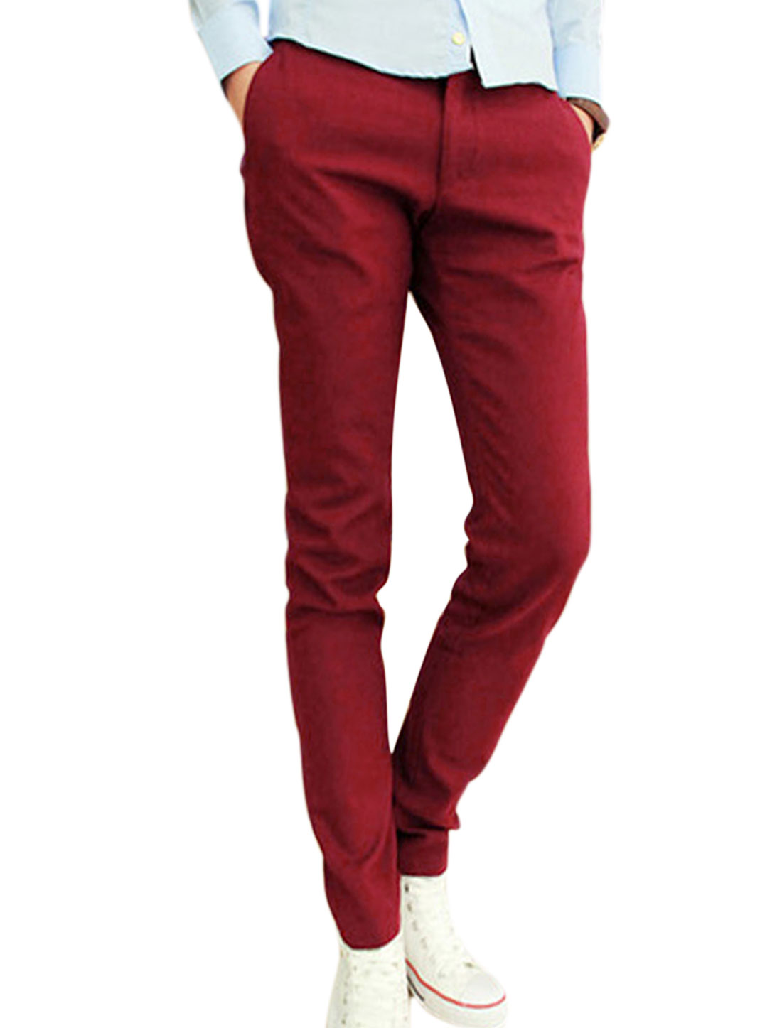 NEW Fashion One Button Up Fake Pockets Back Pants for Men Burgundy W30