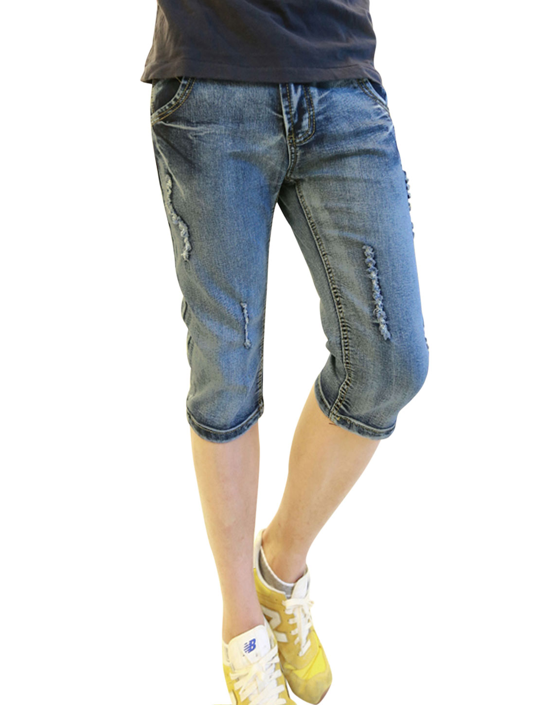 Men Fashion Destroyed Design Two Slant Pocket Washed Denim Capris Blue W28