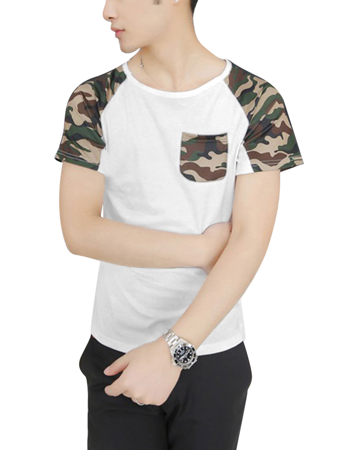 Men Round Neck Short Raglan Sleeve Camouflage Prints T-Shirt White S
