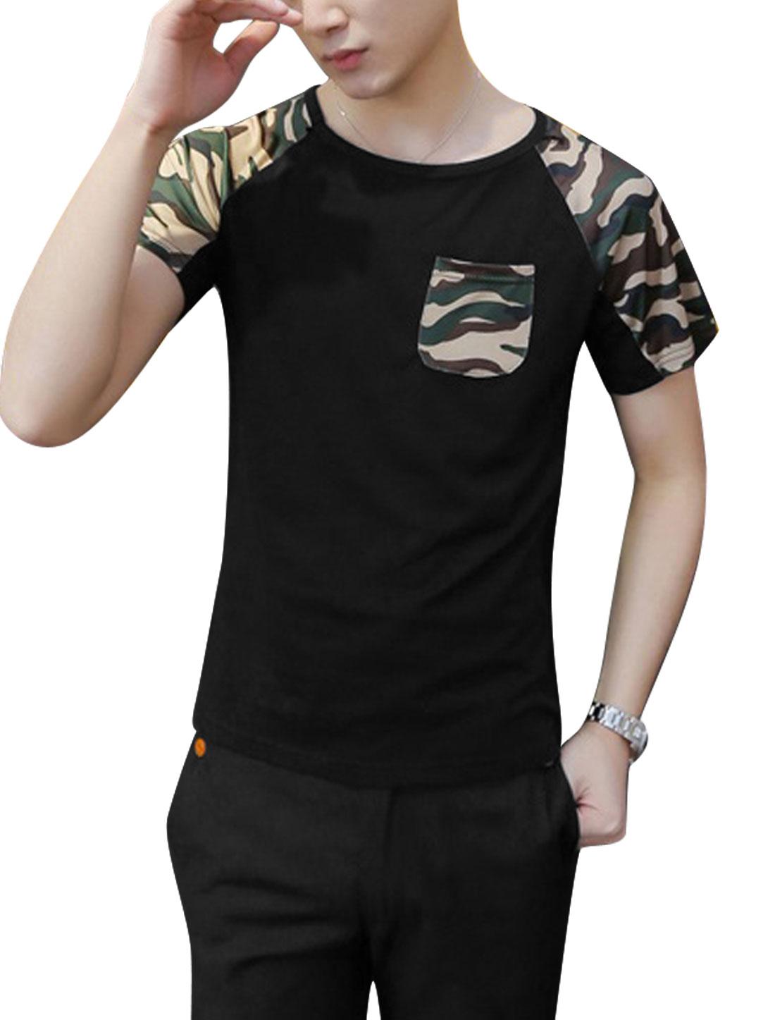Men Casual Short Raglan Sleeve Camouflage Prints T-Shirt Black S