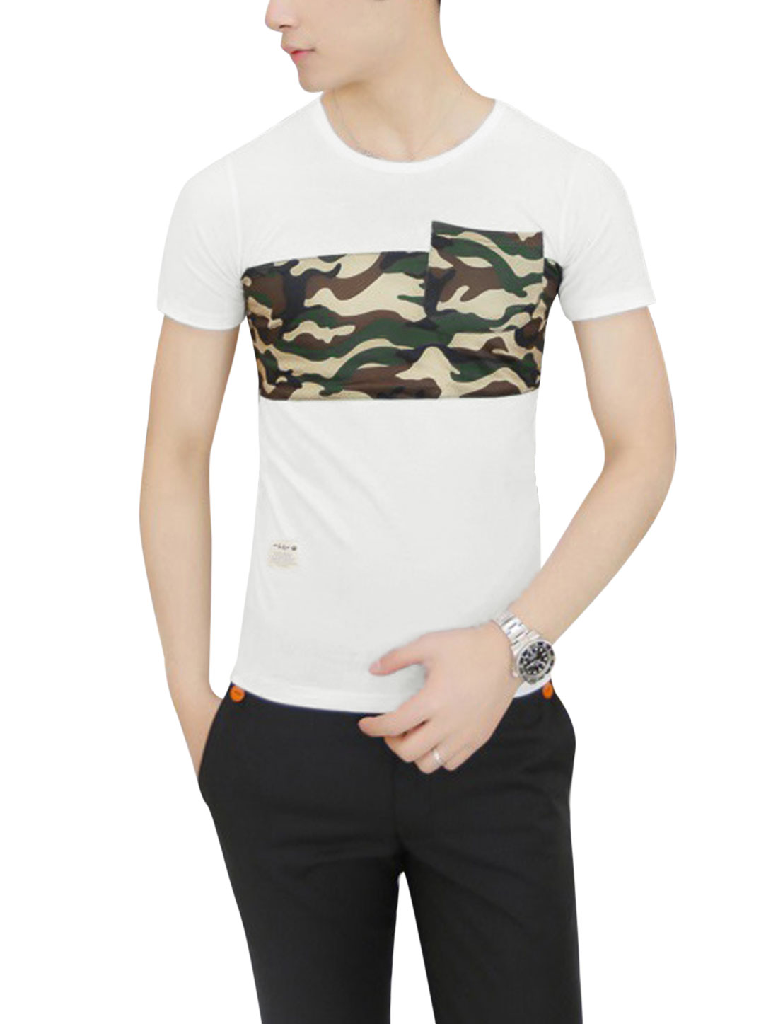 Men Round Neck Short Sleeve Camouflage Prints Panel Design Tee White S