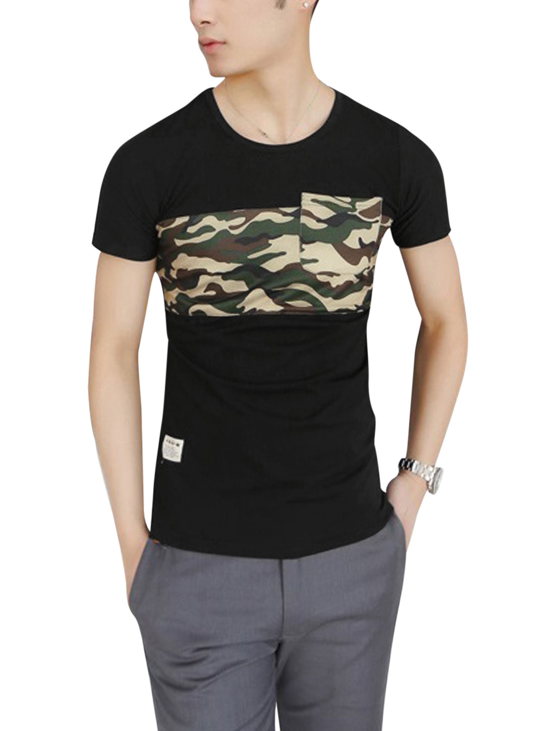 Men Short Sleeve Camouflage Prints Panel Design Tee Black S