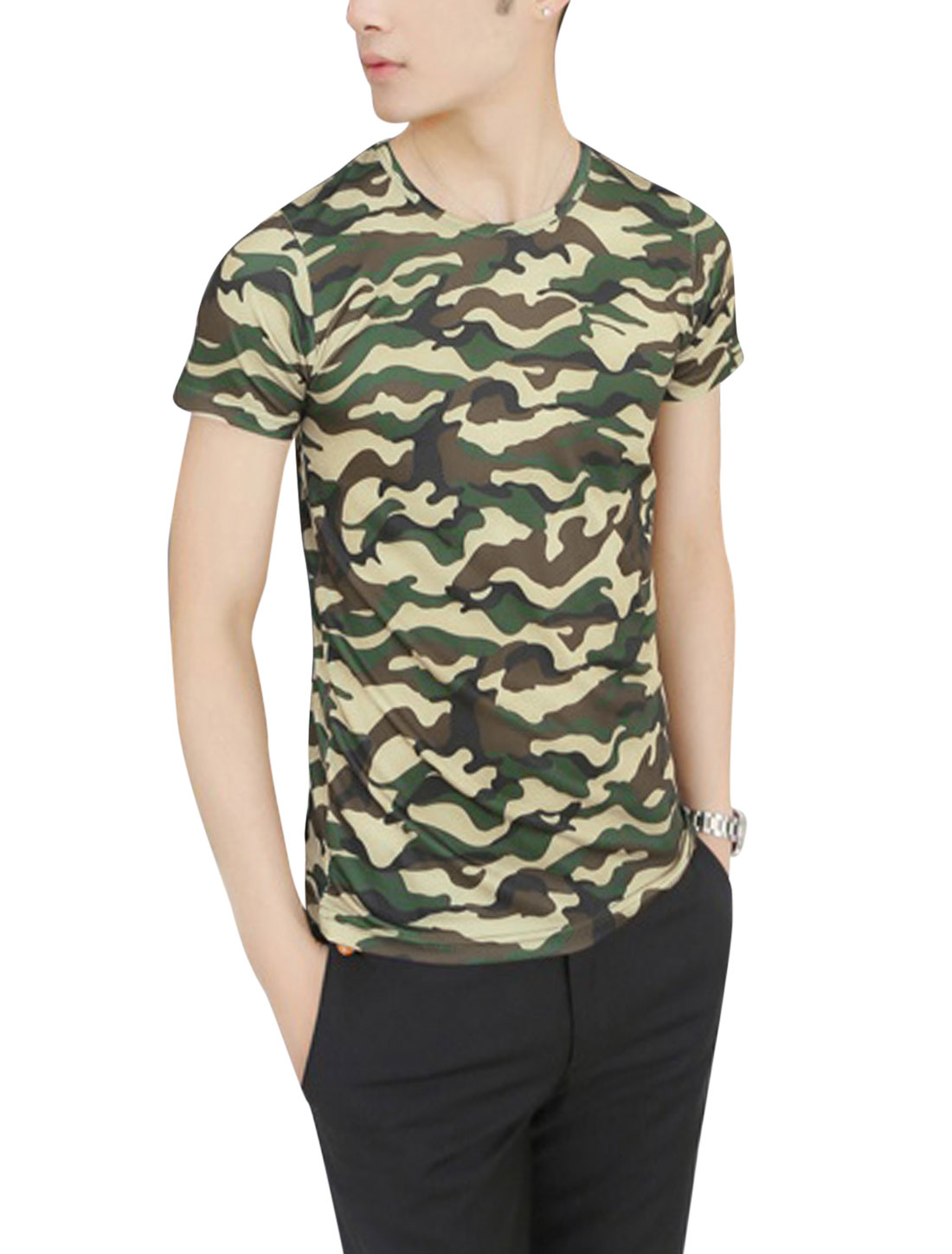 Men Short Sleeve All Over Camouflage Prints T-Shirt Multicolor S