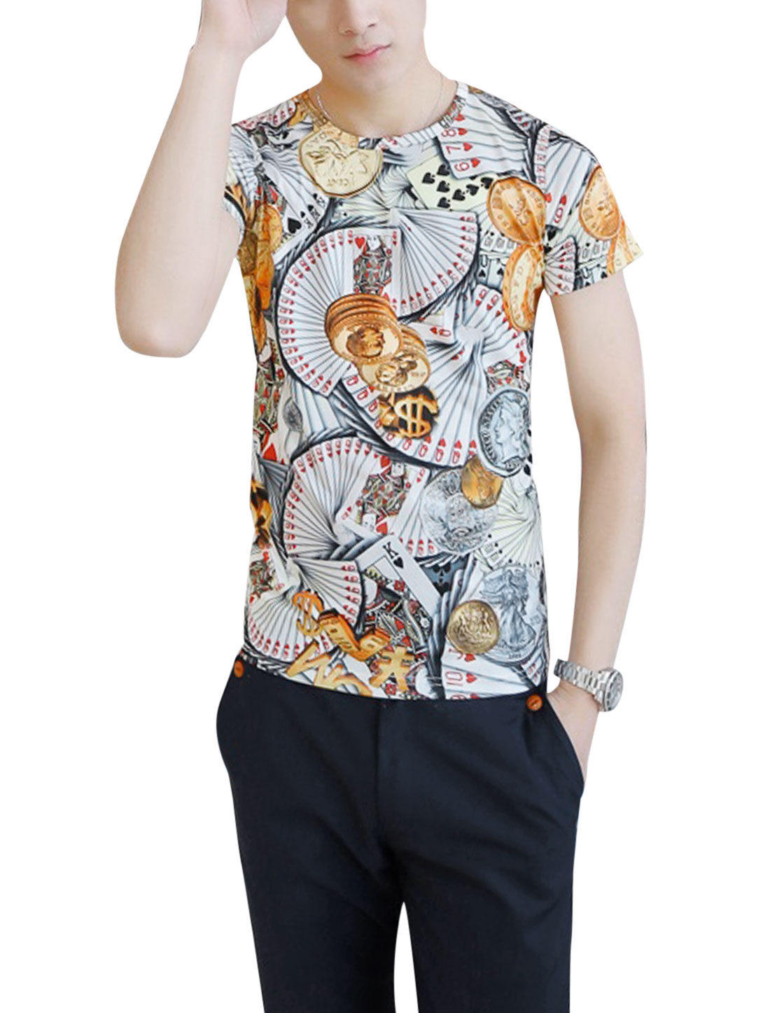 Men Round Neck Short Sleeve Poker Prints Casual T-Shirt Red S